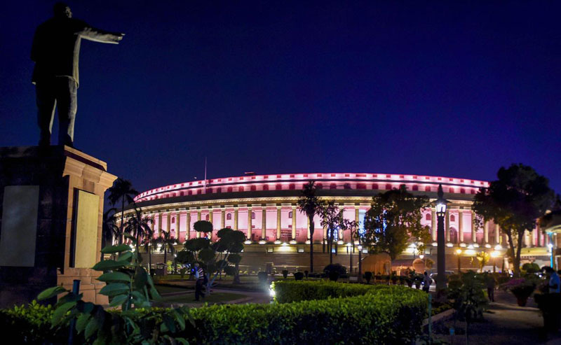 A view of the Parliament House ahead of the winter session of Parliament, in New Delhi, Saturday evening