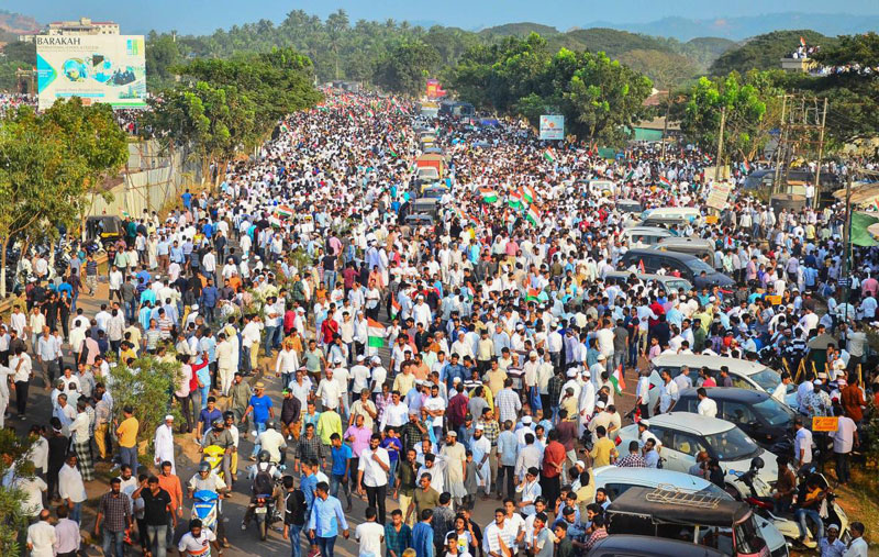otestors during a demonstration against the new citizenship law at Adyar-Kannur near Mangaluru (PTI)