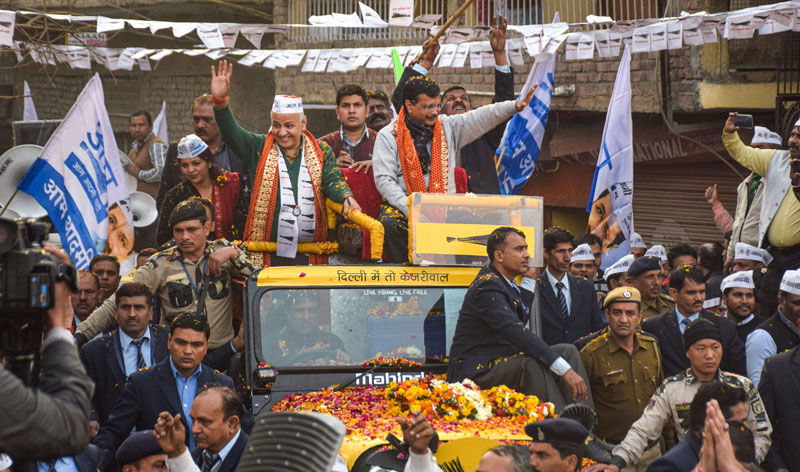 Delhi Chief Minister Arvind Kejriwal during a road show
