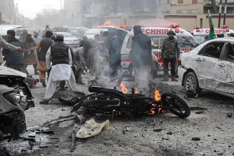 suicide blast in Quetta on February 17, 2020 (AFP)