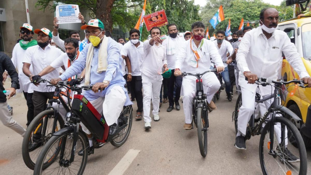 Congress protest against fule price hike