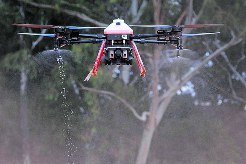 Drone spraying disinfectant