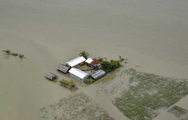 An aerial view of the flood-affected areas of Assam (PTI)