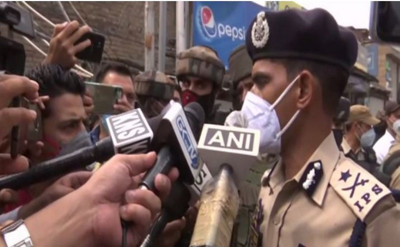Kashmir IGP Vijay Kumar speaking to reporters in Nowgam in Jammu and Kashmir on Friday – ANIPhoto