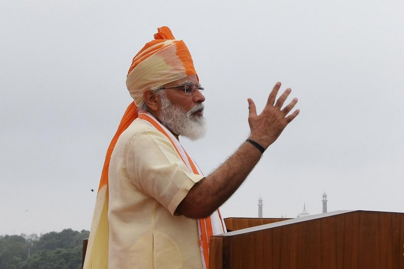 Prime Minister Narendra Modi delivers a speech to the nation during a ceremony to celebrate India's 74th Independence Day