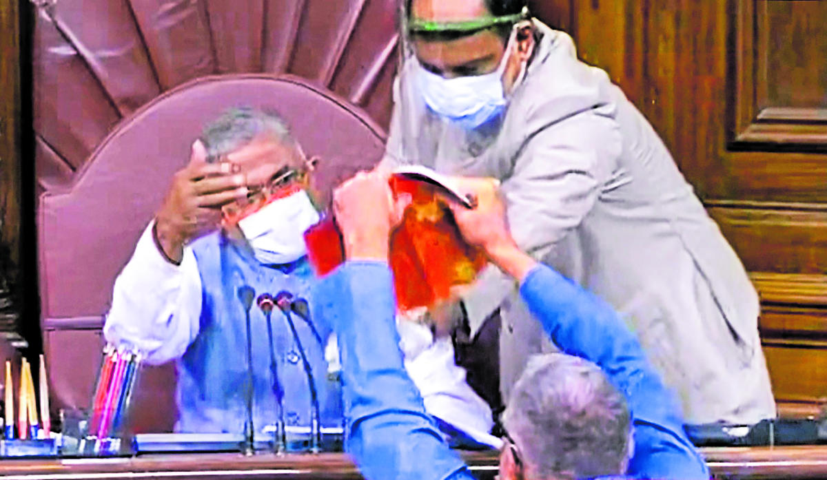 TMC MP Derek O'Brien attempts to tear the rule book as ruckus erupts in the Rajya Sabha over agriculture related bills, during the ongoing Monsoon Session, at Parliament House in New Delhi, Sunday, Sept. 20, 2020. Credit: PTI