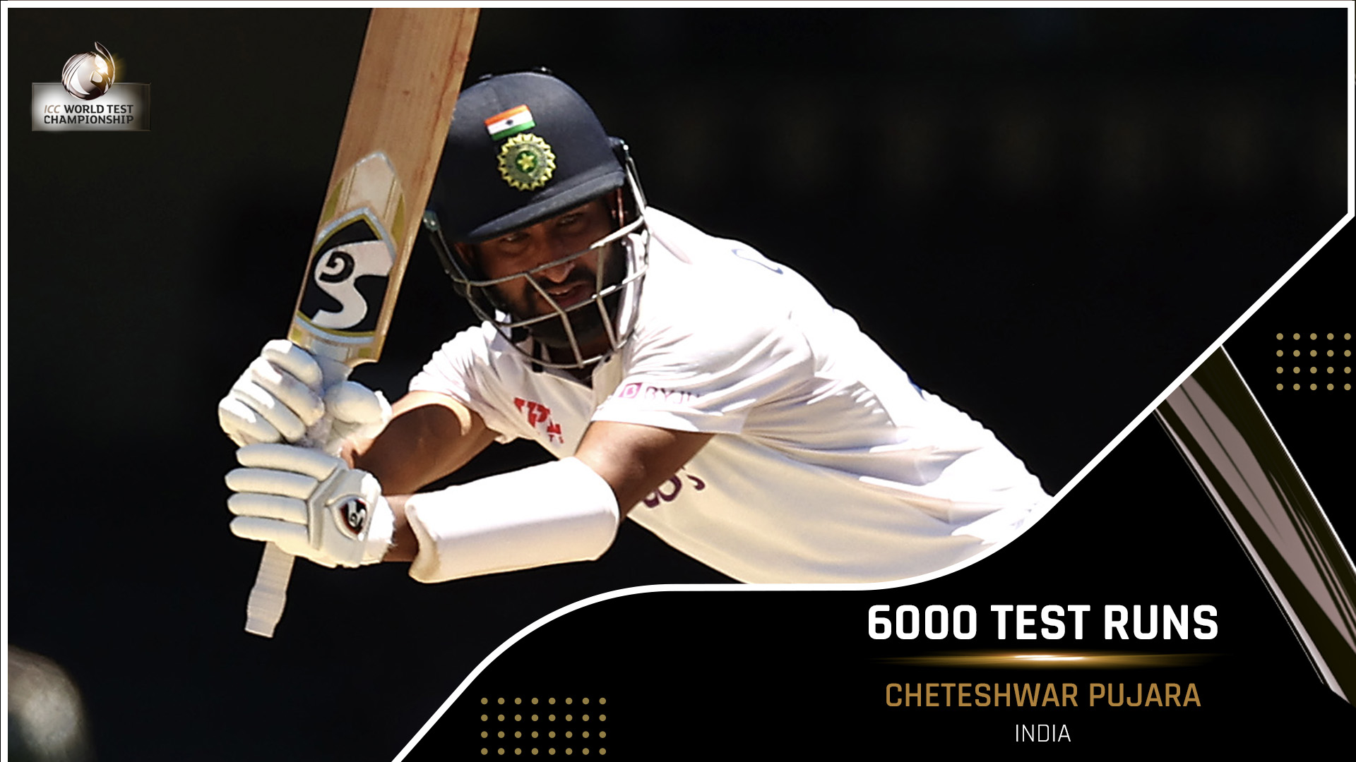 Cheteshwar Pujara has become the 11th Indian batsman to reach 6000 runs in Test cricket! ICC Twitter