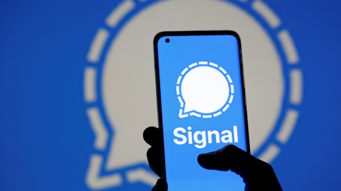 The Signal messaging app logo. Credit: Reuters File Photo