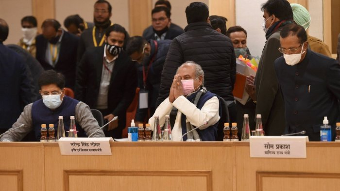 Union Minister for Agriculture and Farmers' Welfare Narendra Singh Tomar along with Union Minister for Commerce and Industry Piyush Goyal during the 10th round of talks with farmers leaders on new farm laws, at Vigyan Bhawan in New Delhi. Credit: PTI Photo
