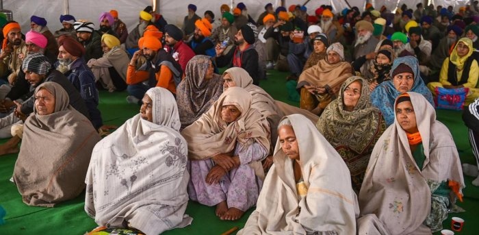 Farmers at Singhu border during their ongoing agitation against the new farm laws. Credit: PTI.