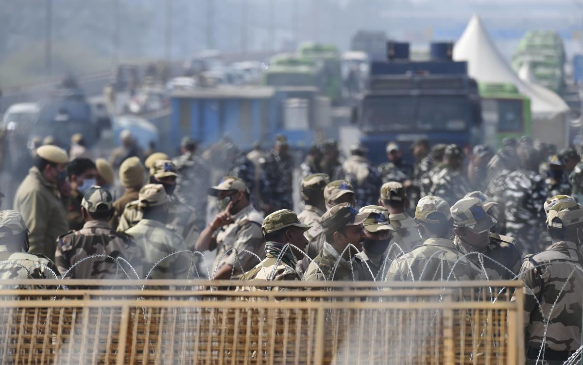 Heavy security deployment at Ghazipur border during farmer's protest against the new farm laws, in New Delhi, Sunday, Jan. 31, 2021. (PTI