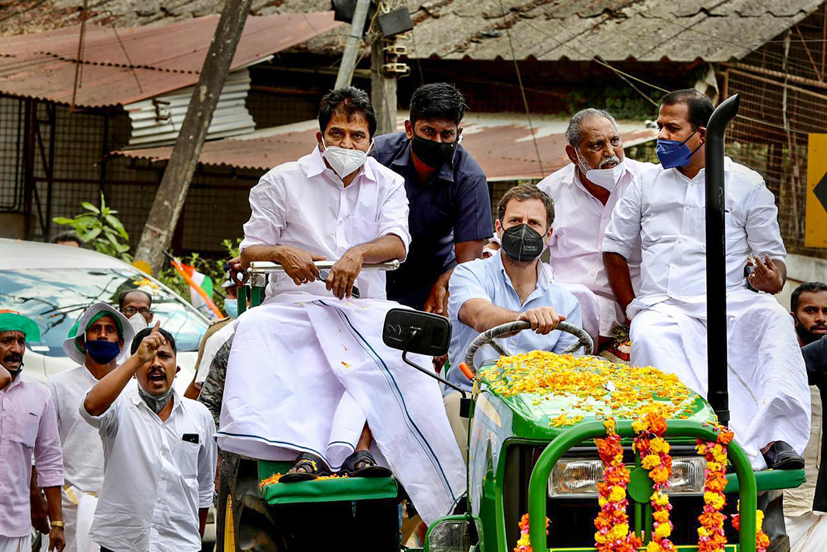 Congress leader Rahul Gandhi takes out a tractor rally from Thrikkaipatta to Muttil in Wayanad district PTI Photo