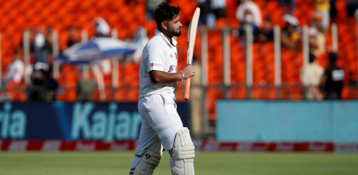 Rishabh Pant walks off the field after his dismissal. Credit: Reuters photo.