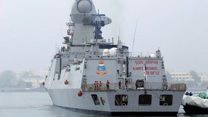 Two ships -- INS Kolkata (in picture) and INS Talwar -- have already entered the Manama port in Bahrain to bring 40 metric tonnes of liquid oxygen to Mumbai. Credit: Reuters file photo