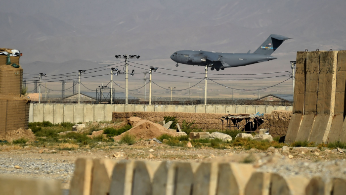 A US military air force lands at a US military base in Bagram, some 50 km north of Kabul. Credit: AFP Photo
